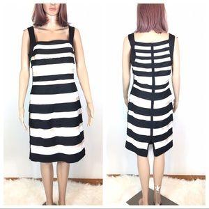 WHBM Ruffle Striped Shift Dress